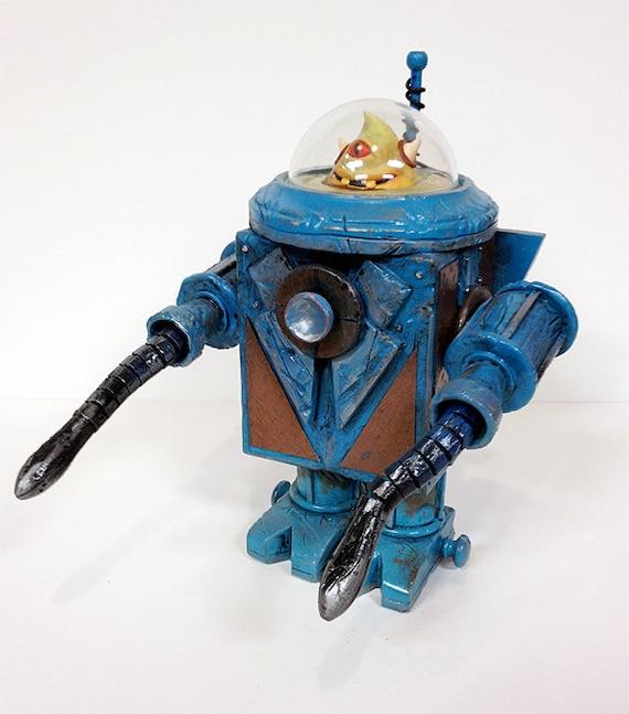 Cycloptic Optic Bot - Original Mixed Media Sculpture