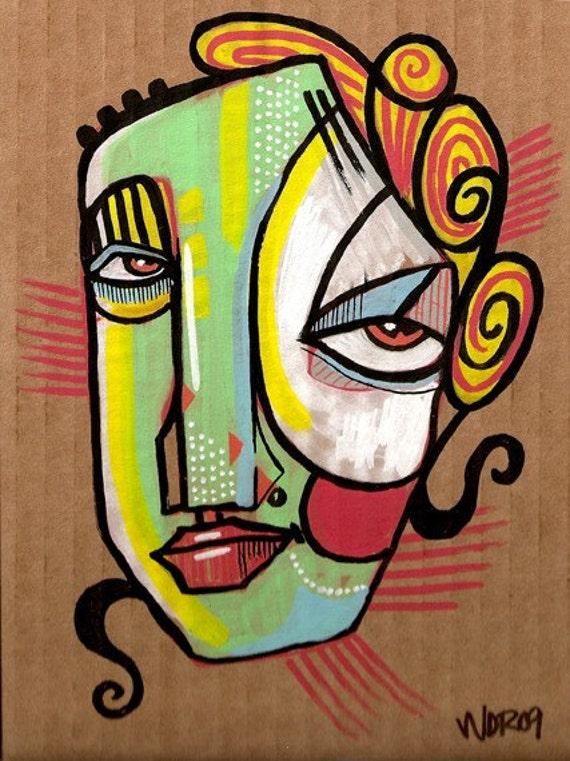 A Diva's Curl - Original Illustration on Cardboard