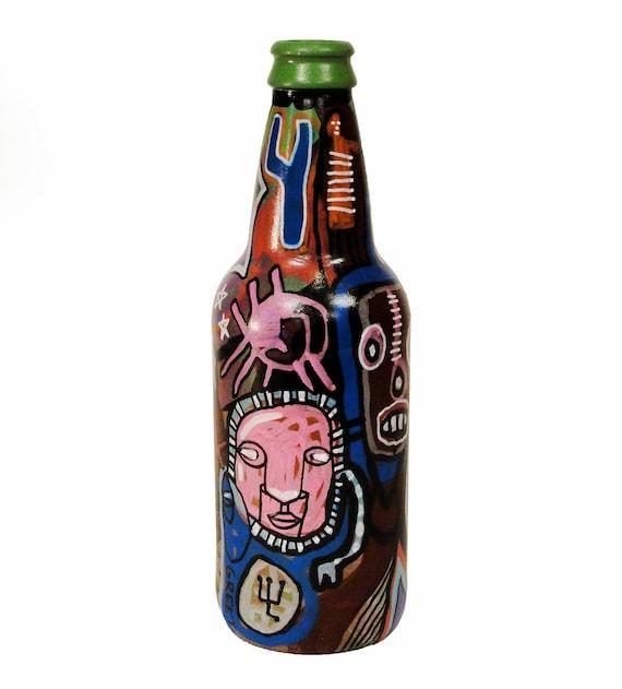 Bottle NO. 13  - Original Mixed Media illustration on Beer Bottle