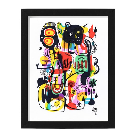 """CLICKY SHKOO - Original mixed media Illustration on Bristol - 8"""" x 10"""""""