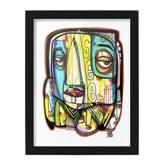 """Seen - Original mixed media Illustration on Bristol - 8"""" x 10"""" - Original Artwork"""