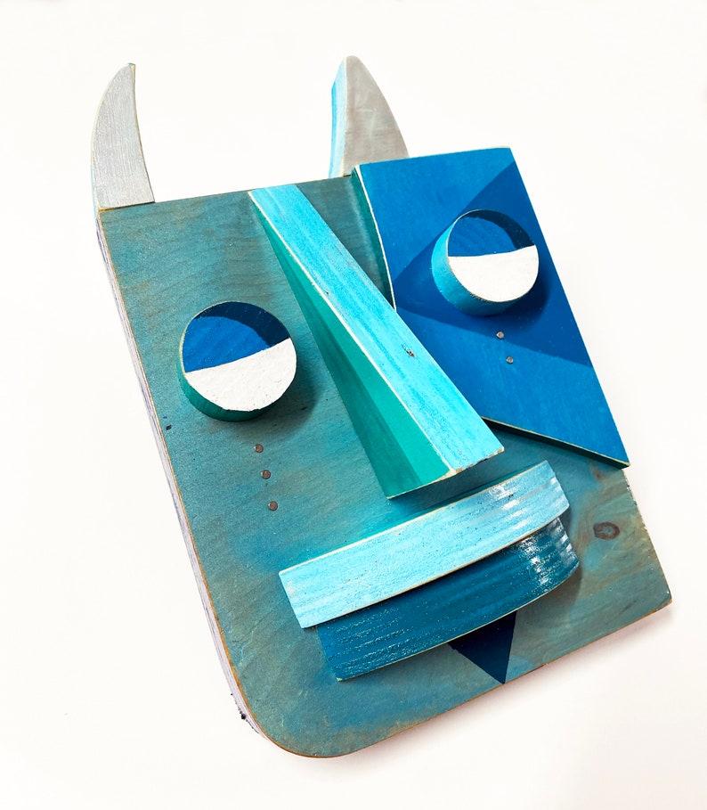 Original Mixed Media Wall Sculpture Blue Devil May Cry