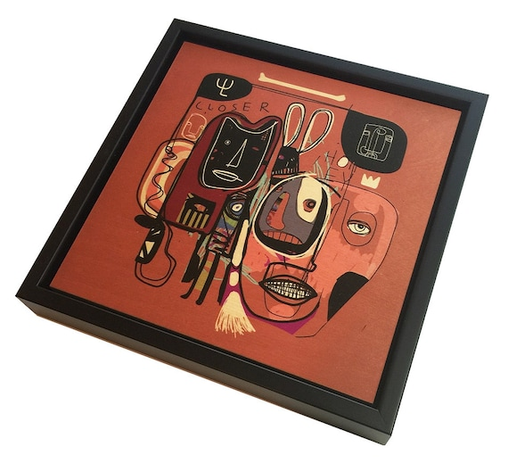 Honey Bone - Original Vector Drawing - 8x8 Print on Wood - Framed - Signed and Ready to Hang