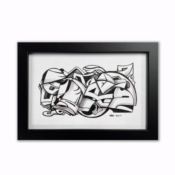 Playa - Original ink drawing on Paper | Signed , Framed and Ready to Hang - 9x6