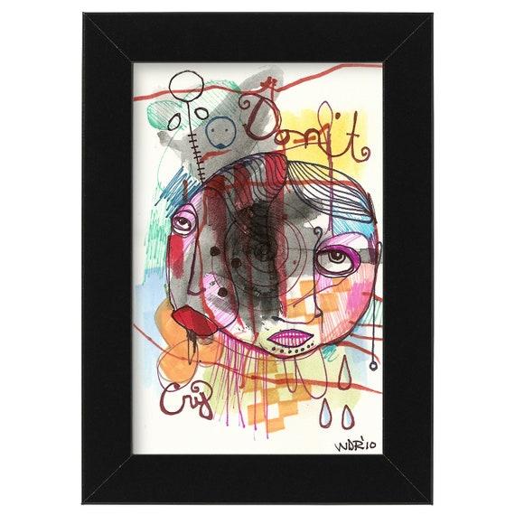 "Don't Cry - Collaboration with my son Jazper - Original Illustration on Bristol -4""x6"""