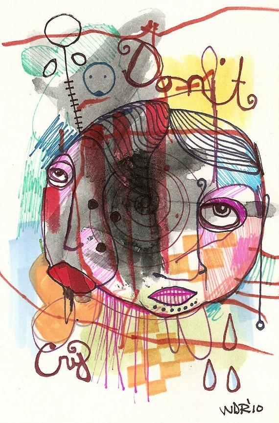 Don't Cry - Collaboration with my son Jazper - Original Illustration on Bristol