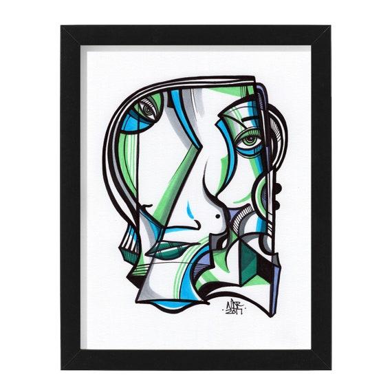 """Ablo shay - Original mixed media Illustration on Bristol - 8"""" x 10"""""""