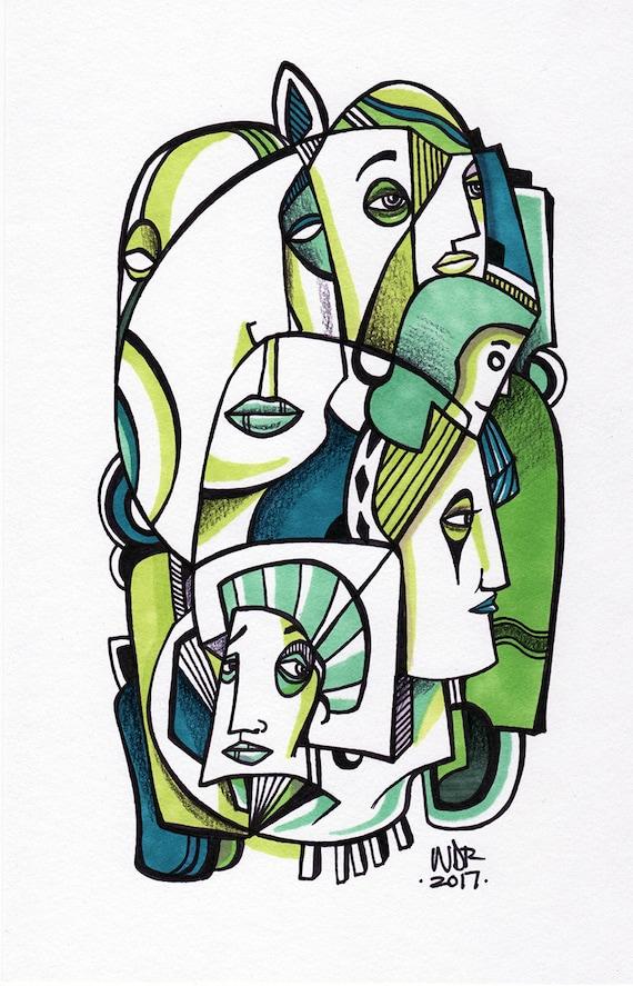 "Green Court - Original mixed media Illustration on Bristol - 6.5"" x 9"""