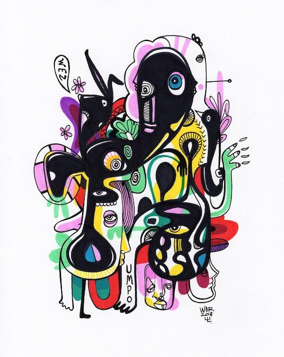 "Wez Umpo - Original mixed media Illustration on Bristol - 8"" x 10"" - Original Artwork"