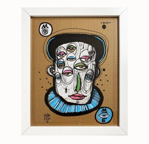 "Man of Many Eyes - Illustration on Cardboard - 8"" x 10"" - Framed"