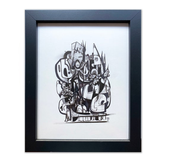 Destroyer - Original drawing framed - 11x14 - Black and White