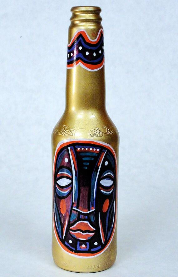 Bottle NO. 64 - Original Mixed Media illustration on Beer Bottle