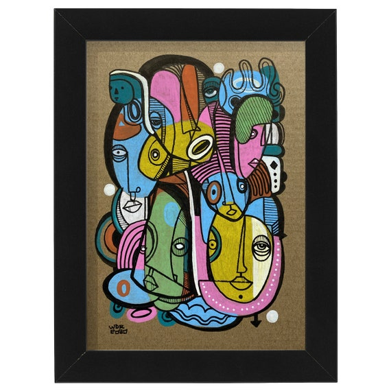 "Kaleidoscope Kids  - Original Ink Illustration on Cardboard - 5"" x 7"" - Original Artwork"