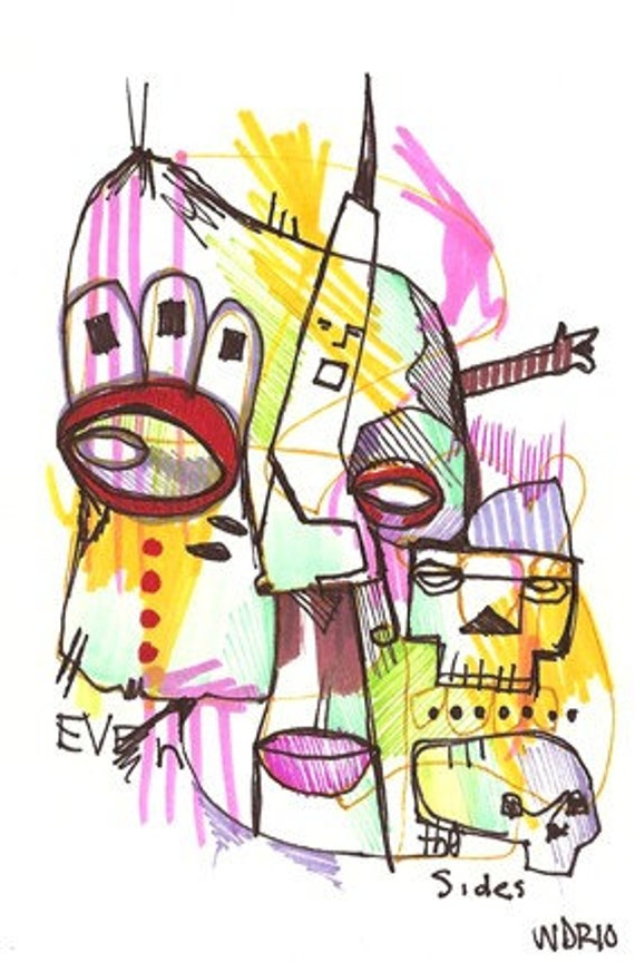 Even Sides - Original Illustration on Bristol