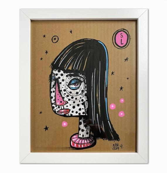 """Spotted Lady - Illustration on Cardboard - 8"""" x 10"""" - Framed"""