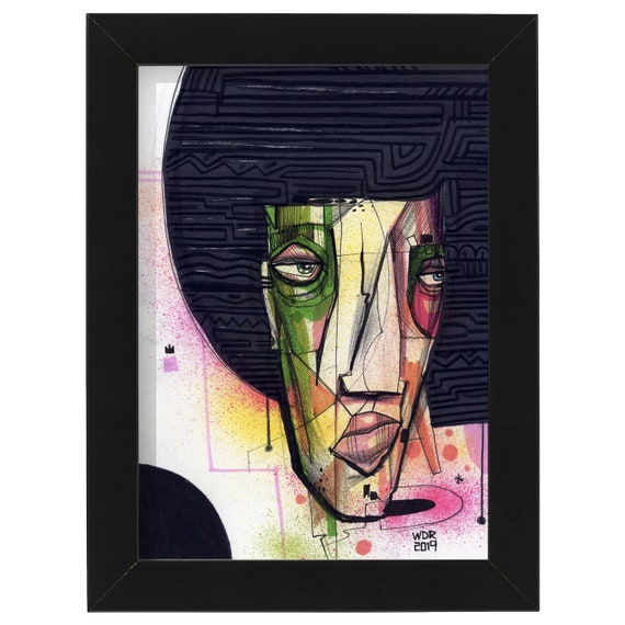 "Mojo Fro - Original drawing on Bristol - 5"" x 7"" - framed"