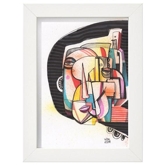 """Quinta - Original 5""""x7"""" Mixed Media Drawing - ART"""