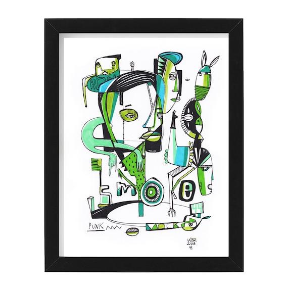 "Punk Smoke - Original mixed media Illustration on Paper - 8"" x 10"""