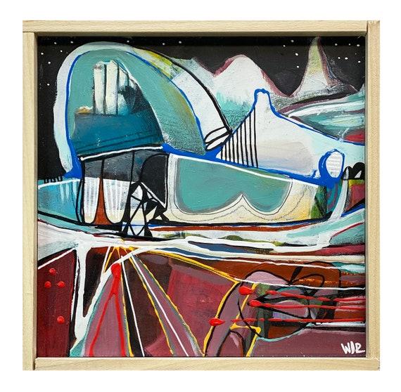 "Polar - Original Mixed Media painting on 7"" x 7"" wood Panel"