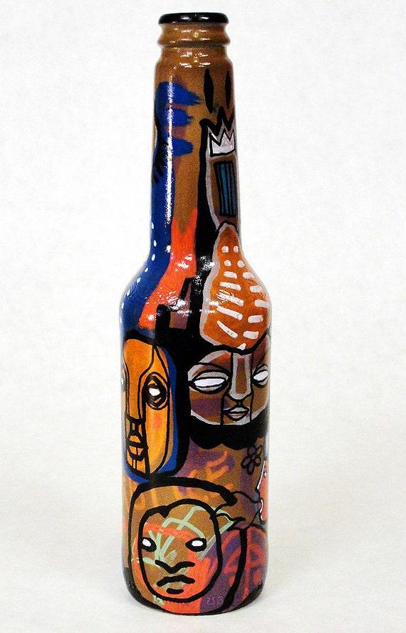 Bottle NO. 38 - Original Mixed Media illustration on Beer Bottle