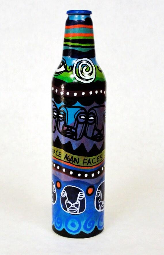 Bottle NO. 46 - Original Mixed Media illustration on Beer Bottle