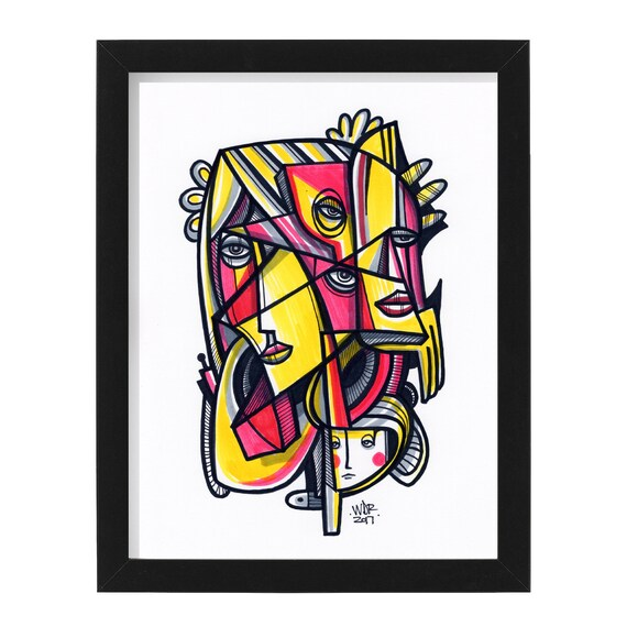 "Charades - Original mixed media Illustration on Paper - 8"" x 10"""