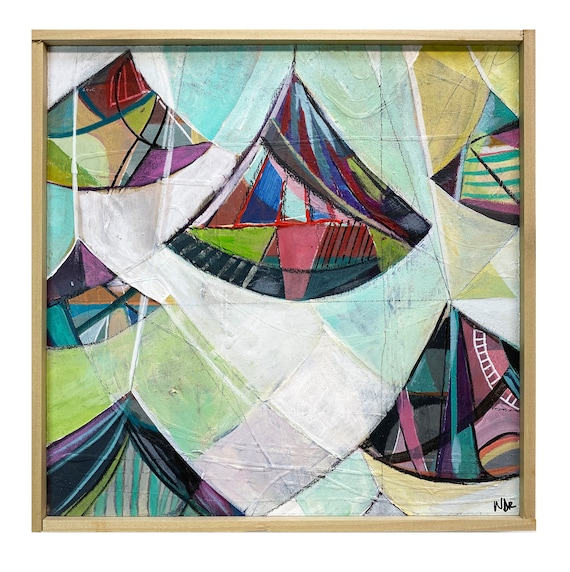 "Pendulum Swing 2 - Original Mixed Media painting on 10"" x 10"" wood Panel"