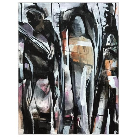 Dividing Spirits - Original mixed-media painting on pentagon wood panel 18x24