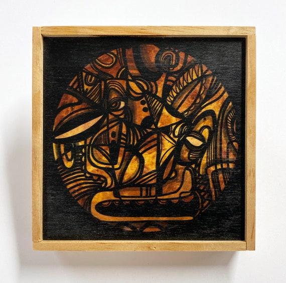 """Marsa - Digital Print on wood - 5"""" x 5"""""""