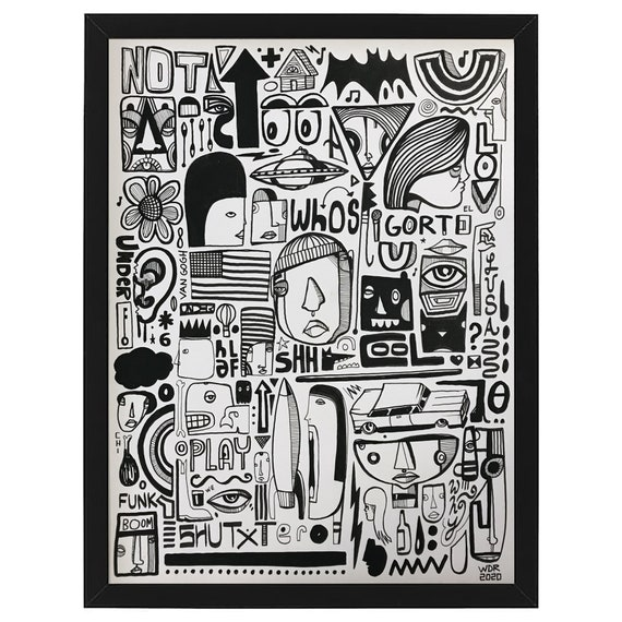 "O Bro - Original mixed media Illustration on cardboard - 12"" x 16"""