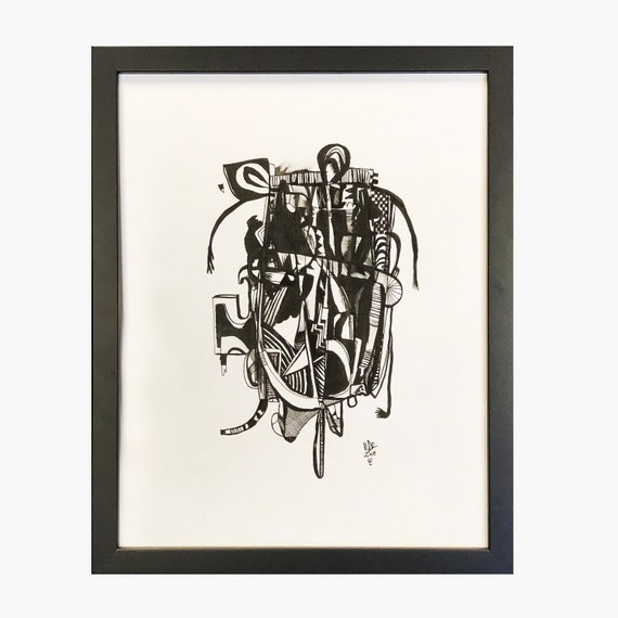 Armor - Original Illustration on Bristol - 11x14 - Framed - Black and White