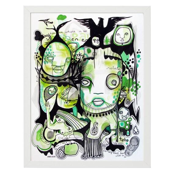 "Booky Tato - Original Illustration on Paper - 12"" x 16"" -Framed - Art"