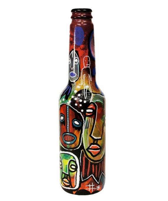 Bottle NO. 65 - Original Mixed Media illustration on Beer Bottle