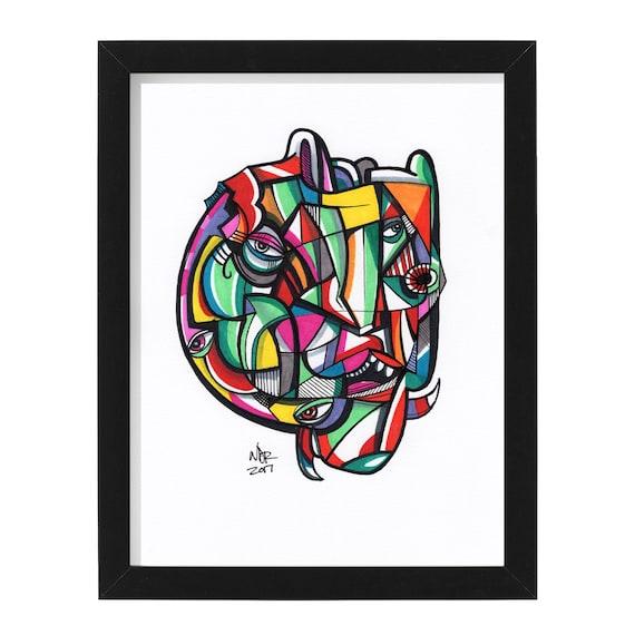 "Chroma Head - Original mixed media Illustration on Bristol - 8"" x 10"" - Orignal Artwork"