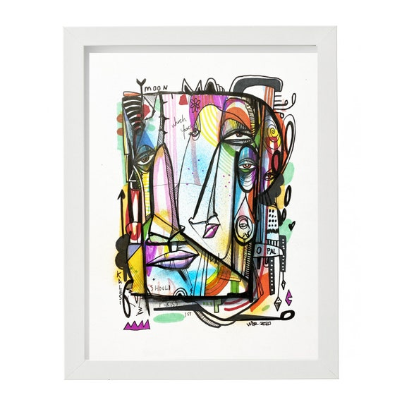 "Which Face Should I Kiss First - Original mixed media Illustration on Paper - 8"" x 10"""