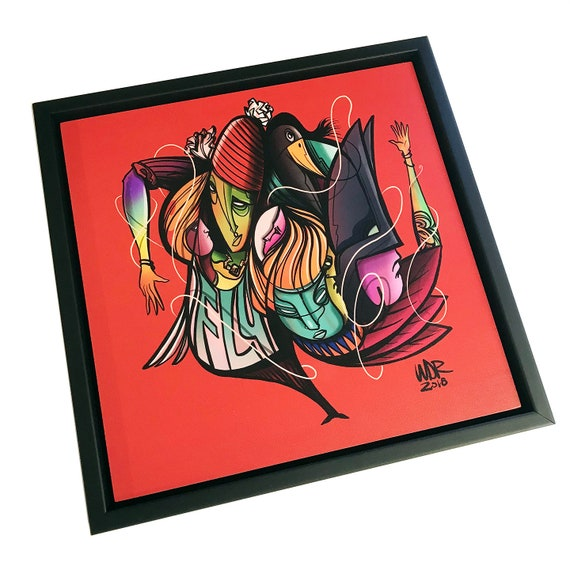 We Fly - Original Digital Drawing - 12x12  Print on Wood - Framed - Signed and Ready to Hang