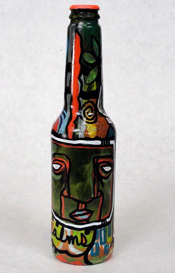 Bottle NO. 78 - Original Mixed Media illustration on Beer Bottle