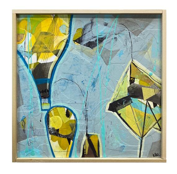 "HELIUM - Original Mixed Media painting on 10"" x 10"" wood Panel"