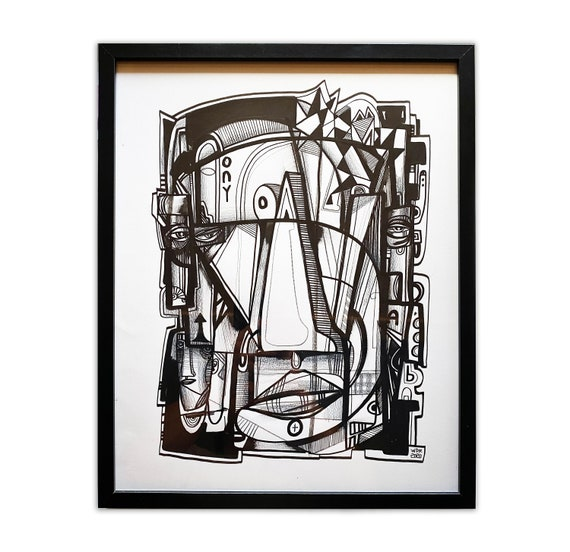 "ONY - Original mixed media Illustration on Paper - 16"" x 20"" - Framed"