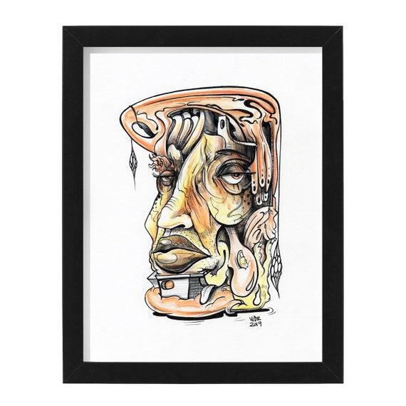 "Helter Skelter Melter - Original Ink Drawing on Bristol - 8"" x 10"" - Signed, Framed and Ready to Hang - ART"