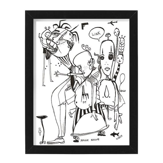 """Link Nollie Nollie - Original Illustration on Bristol - 8"""" x 10"""" - Framed"""