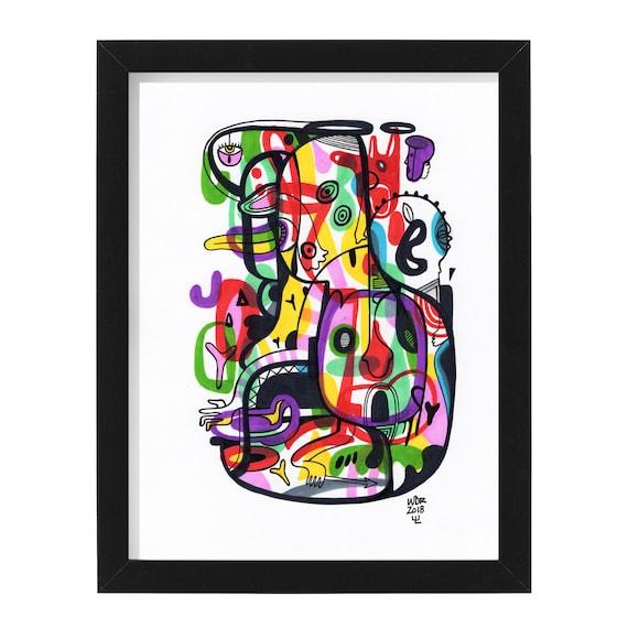 """Jaya Joy - Original mixed media Illustration on Bristol - 8"""" x 10"""" - Original Artwork"""
