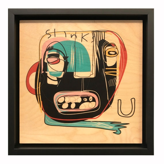 Slinks U - Original Vector Drawing - 8x8 Print on Wood - Framed