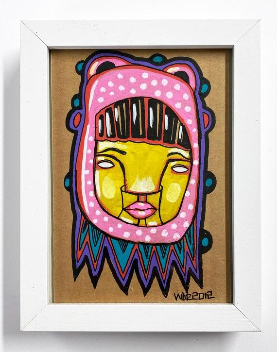 Matsi - Original Illustration on Cardboard - 5x7 - framed