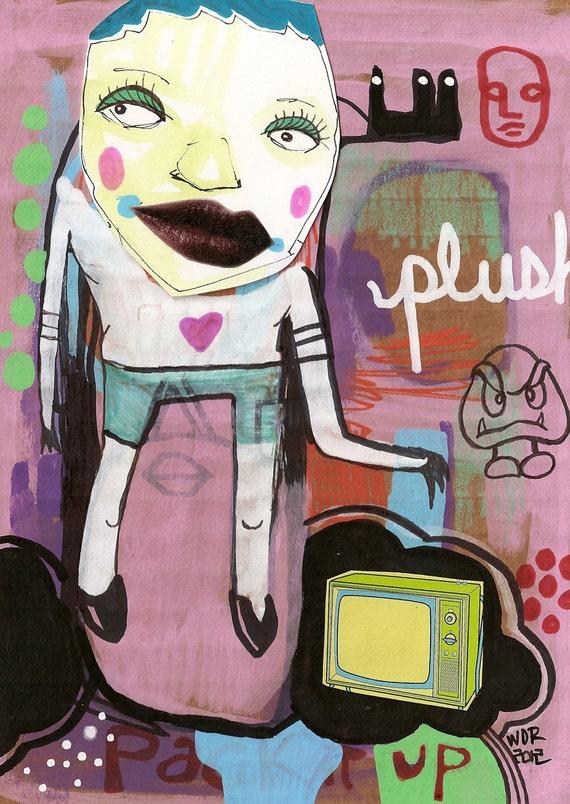 Plush Tube - Original Mixed Media Collage on Cardboard