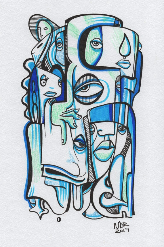 "Blue Tear - Original mixed media Illustration on Paper - 6"" x 9"""