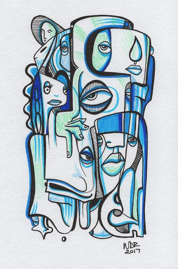 "Blue Tear - Original mixed media Illustration on Paper - 6"" x 9"""