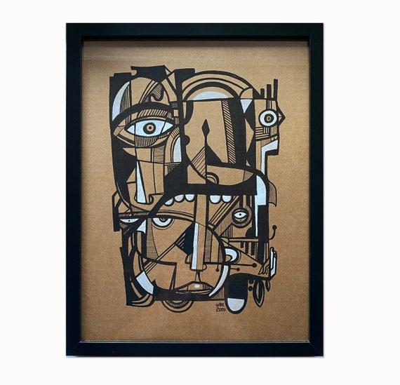 "White Fingers - Original mixed media Illustration on cardboard - 12"" x 16"""