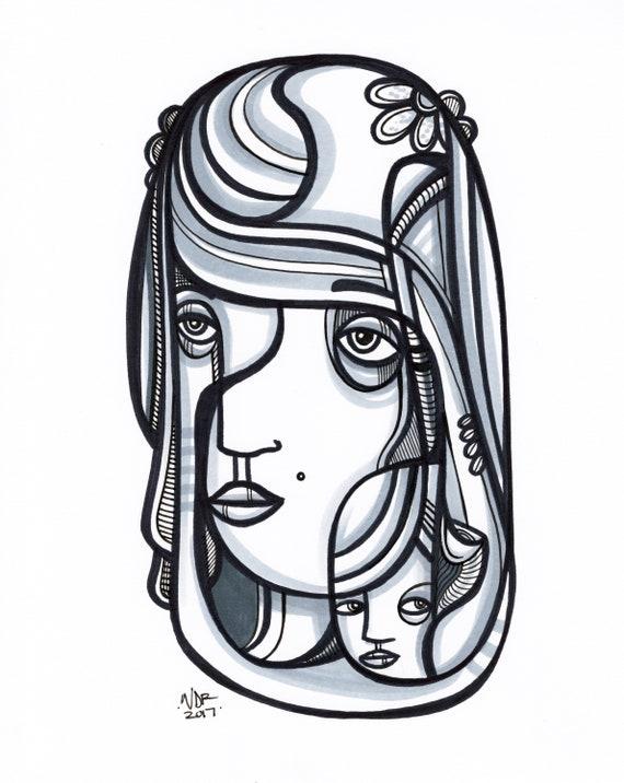 "Herson - Original mixed media Illustration on Paper - 8"" x 10"""