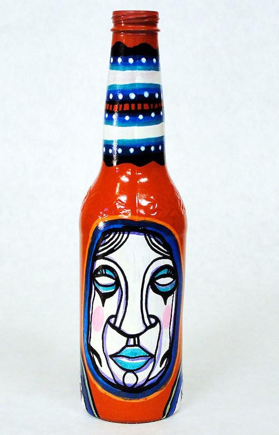 Bottle NO. 56 - Original Mixed Media illustration on Beer Bottle